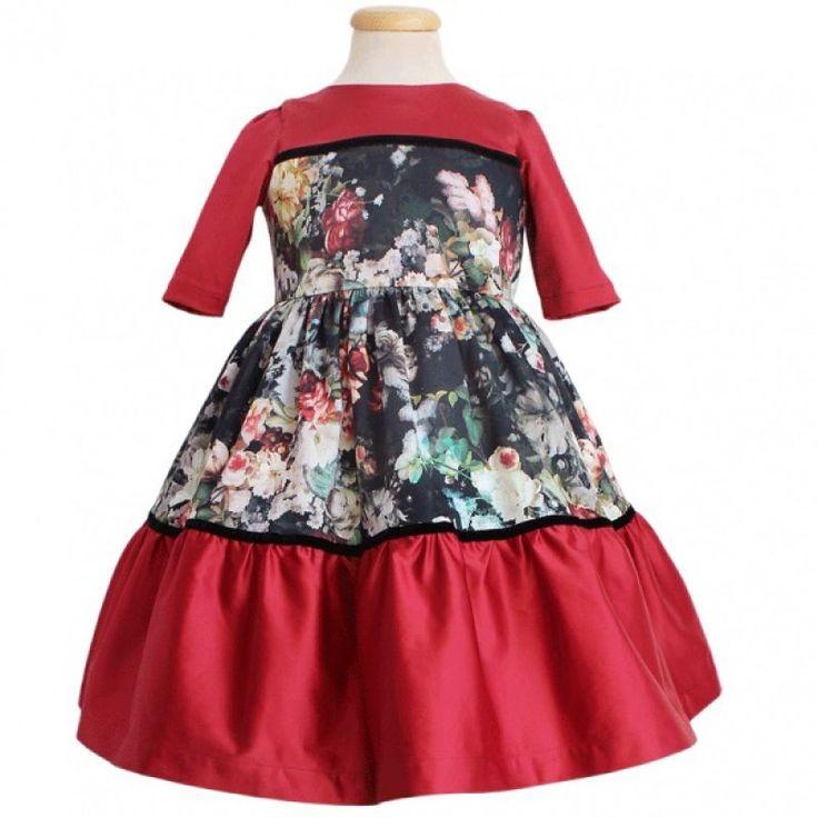 Rochie rosu-negru cu trandafiri  