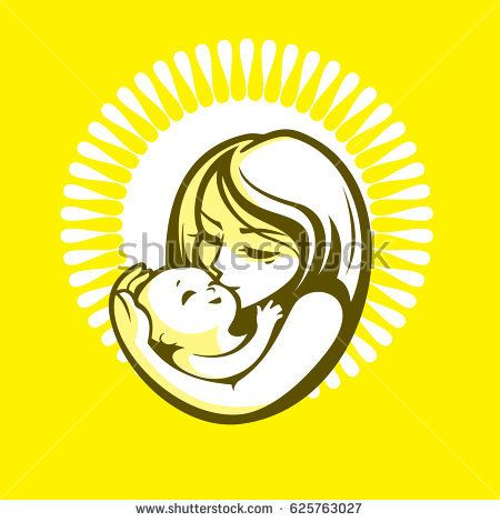 Happy mother and kid - beautiful vector illustration, graphic image, computer icon, label design element. Monochrome yellow and green colors.
