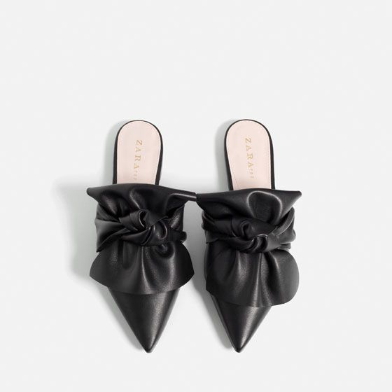 Image 1 of LEATHER SLIDES WITH BOW from Zara