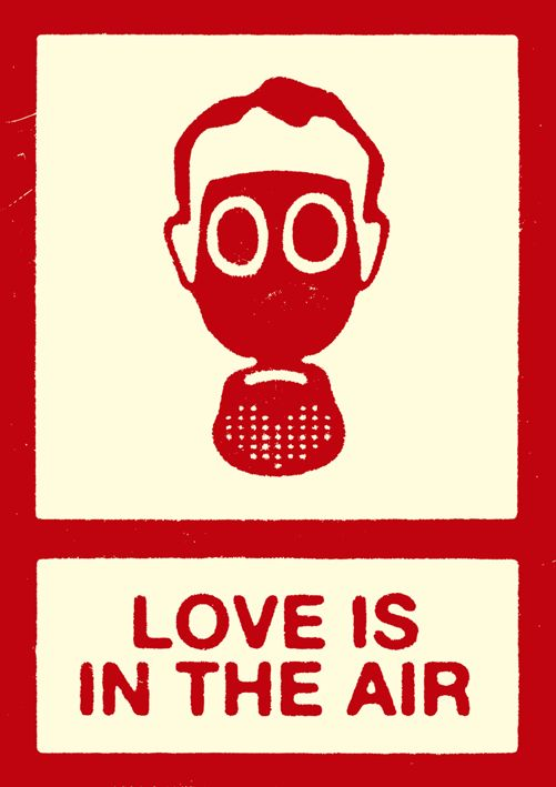 Love Is In The Air. Man in Gas Mask, Graphic Illustration, Pop Art.