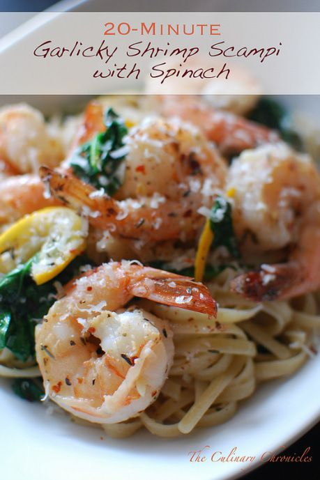 Garlicky Shrimp Scampi with Spinach - The pasta was bright, citrus-y, uber garlicky (vampires beware) and totally satisfying. And the best thing? You can probably have it done in 15.