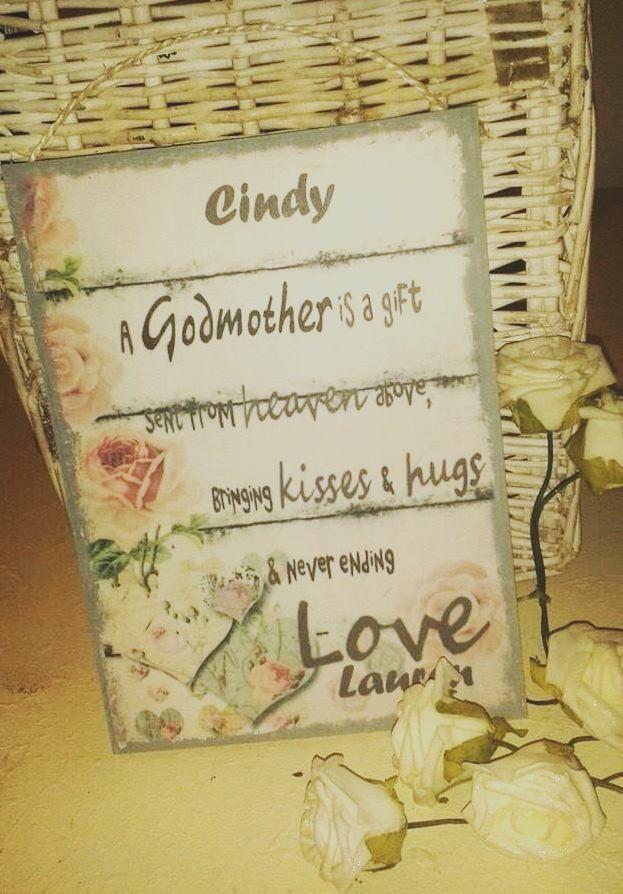 Godmother sentiment keepsake personalised gift plaque only £14.99 www.katiedolittle.com