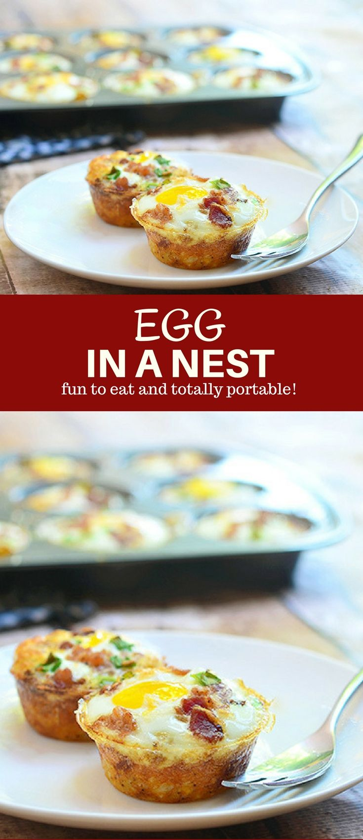 Egg in a Nest with soft yolks, crisp bacon, cheese, and green onions baked in hash brown potato nests. They're a delicious breakfast treat and totally portable for snacking on the go. #breakfast #eggs #hashbrown #potatoes