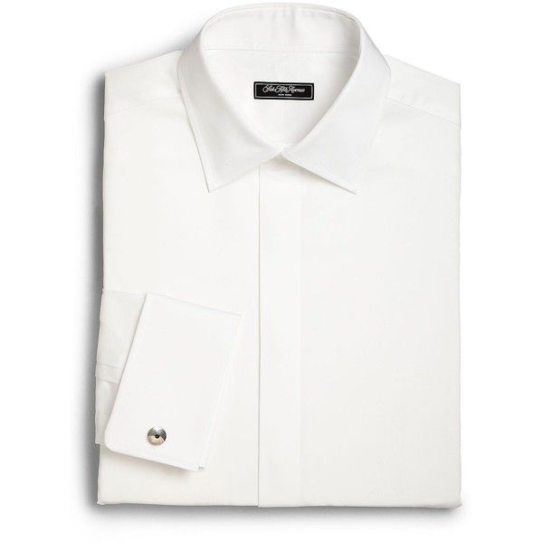 Saks Fifth Avenue Regular-Fit Formal Cotton Dress Shirt (1.425 CZK) ❤ liked on Polyvore featuring men's fashion, men's clothing, men's shirts, men's dress shirts, mens classic fit shirts, mens white shirts, mens formal shirts, mens formal dress shirts and mens cotton shirts