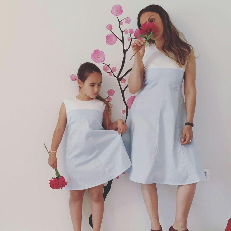 Celeste abito in puro cotone piquet romanticamente insieme made in Italy ❤