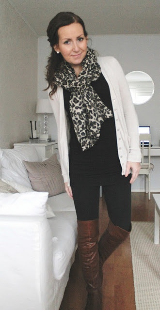 cream cardi + long black top + black skinnies + cognac boots + leopard scarf