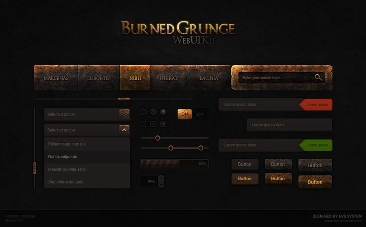 Burned Grunge Web UI KIT by Evil-S.deviantart.com on @DeviantArt