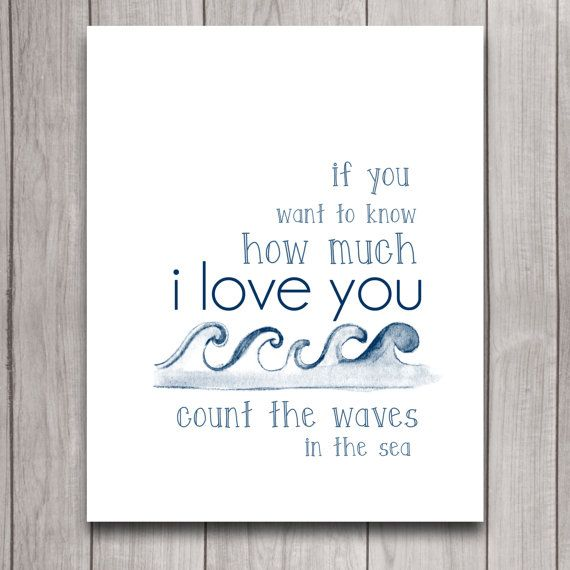 Count the Waves Nautical Nursery Wall Art Poster Instant Download, I Love You Boy Baby Shower Gift, Bedroom Decor, Inspirational Printable