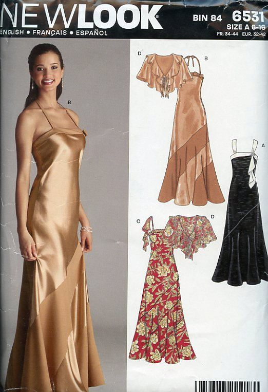 Bias Cut Dress Pattern New Look 30s Style Evening By PansyandPerle 800