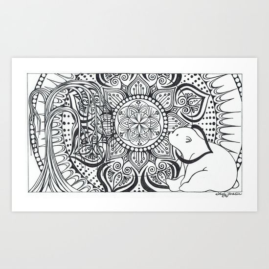 Polar Bear Mandala by Lady Lorelie Art Print by Lady Lorelie - $28.08