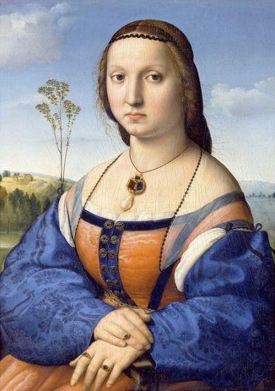 Raffaello Santi, Ritratto di Maddalena Strozzi, 1506, olio su tavola, originariamente a Palazzo Doni a Firenze, Galleria Palatina (Firenze).