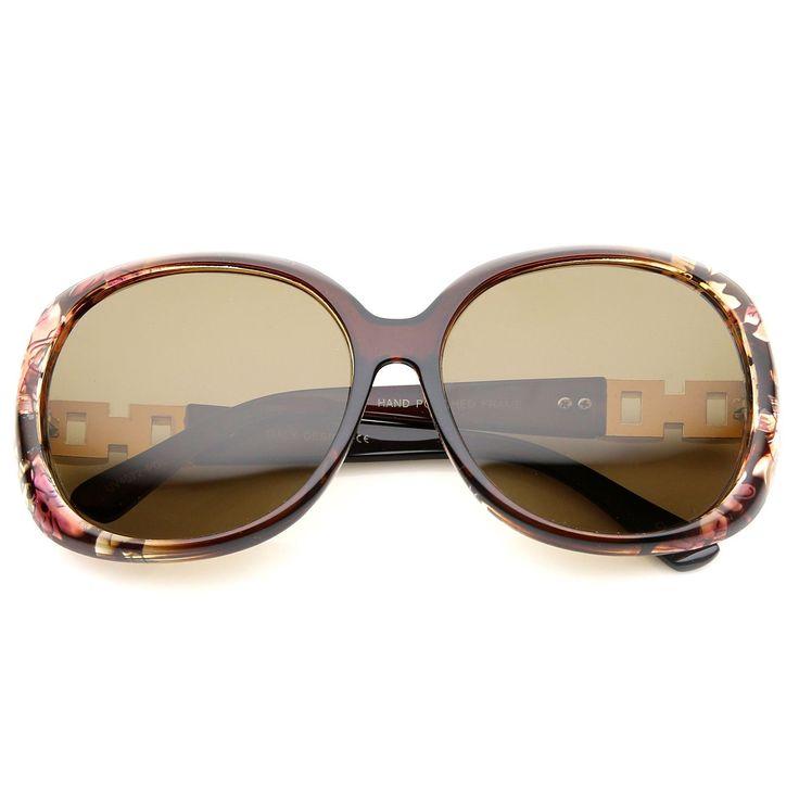 Women's Polarized Chain And Rhinestone Temple Round Oversize Sunglasses 60mm  #sunglasses #frame #sunglass #purple #sunglassla #bold #summer #mirrored #cateye #womens