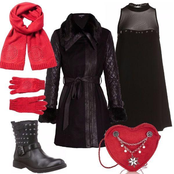 Un outfit per il Capodanno senza tacchi e molto glamour. Abito nero con collo alla coreana e senza maniche di Guess abbinato a cappotto con applicazioni in pelliccia ecologica e a splendidi stivaletti con borchie e fibbia. Gli accessori di colore rosso, con la borsa a tracolla a forma di cuore e la sciarpa con i guanti Desigual, ci regalano un'aria di festa.