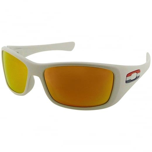 """Oakley Men's White """"Hijinx"""" Fire Iridium Wrap Sunglasses. Model Number: 24 214. Designed for an active lifestyle, the Oakley Hijink sunglasses are sporty, stylish and packed with performance enhancing lens technology. A great all rounder, suitable for every occasion."""