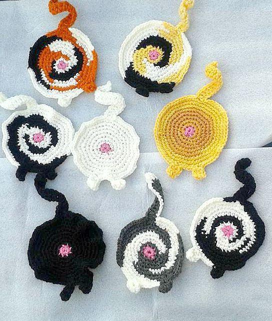 Cat Bum Coaster - Cat Butt - Crochet Coaster - Kitten - Unusual - Funny - Crazy Cat Lady Gift - Feline - Animal - Table Coaster - Cups by CraftyMillerJM on Etsy