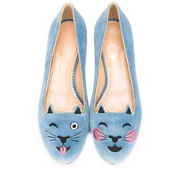 Charlotte Olympia 'Emoticats' ballerinas ($437) ❤ liked on Polyvore featuring shoes, flats, grey shoes, blue ballerina shoes, grey ballet flats, ballerina flats and ballet shoes