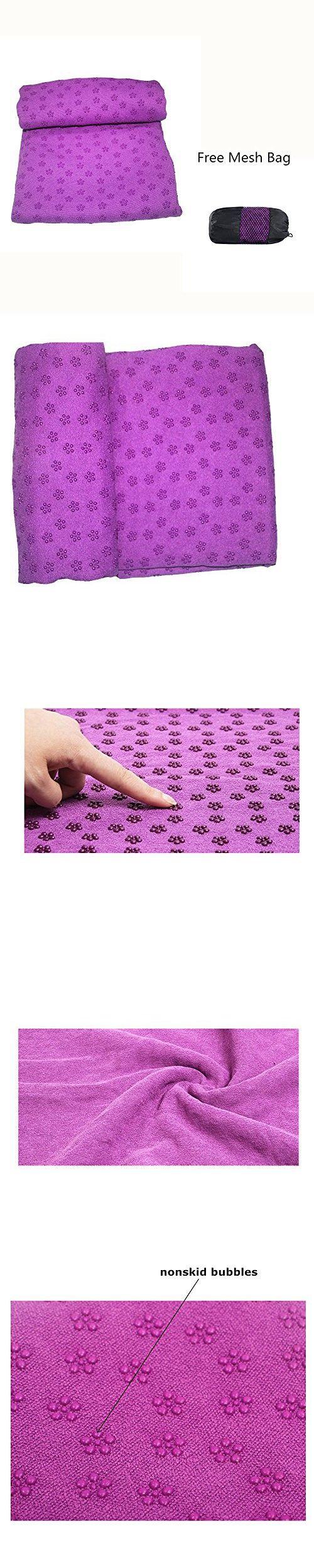 YL trd Microfiber Non Slip Hot Yoga Towel with Anti-slip Rubber Particles (Purple)