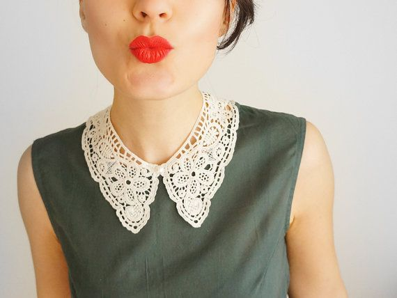 COLLAR // Marcella // Handmade Ivory Cotton Lace Collar Necklace Applique Blouse Accessories Peter Pan Collar Venise Lace Gold