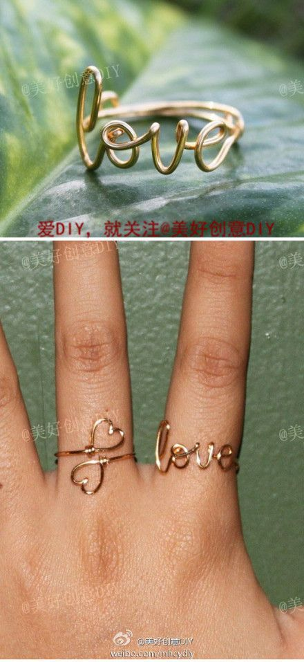 DIY jewellery wire rings with writing and words