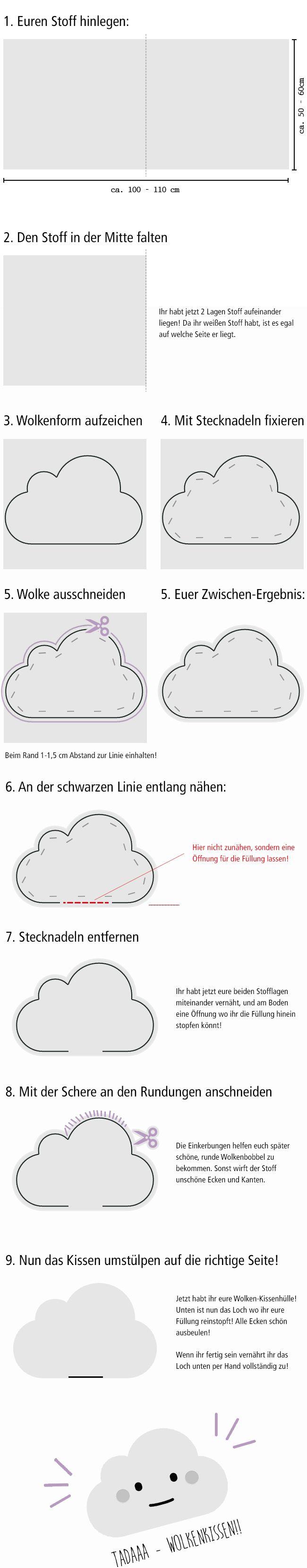DIY: Flauschiges Wolkenkissen selber nähen Tutorial Anleitung