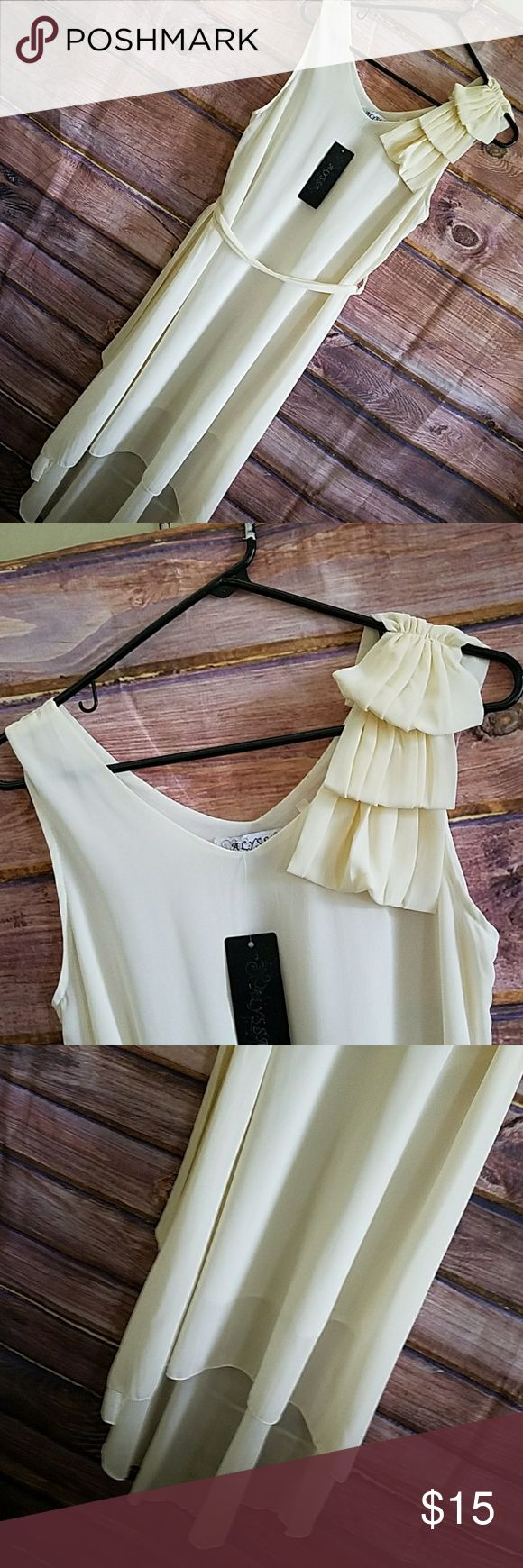 Sheer cream summer dress from Alyssa ladies small Cute summer cream-colored dress from Melissa. Ladies size small. Perfect for wedding or any other Summer Event. Alyssa Dresses Midi