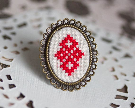 Cocktail ring with red Cross stitch adjustable ring by skrynka