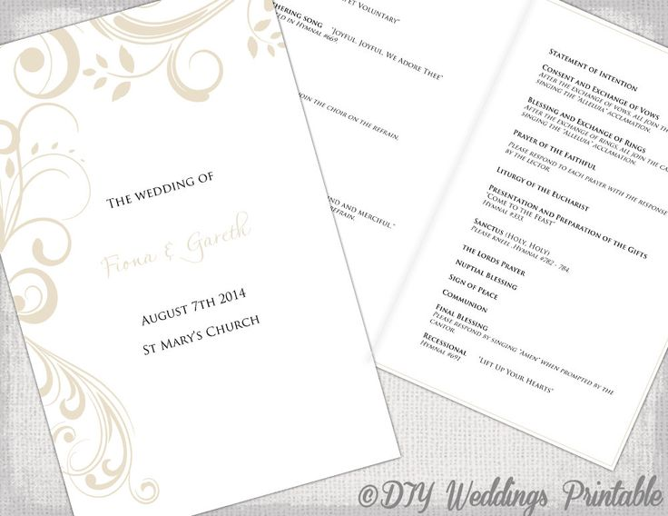 Catholic wedding program template champagne scroll diy for Catholic wedding mass booklet template