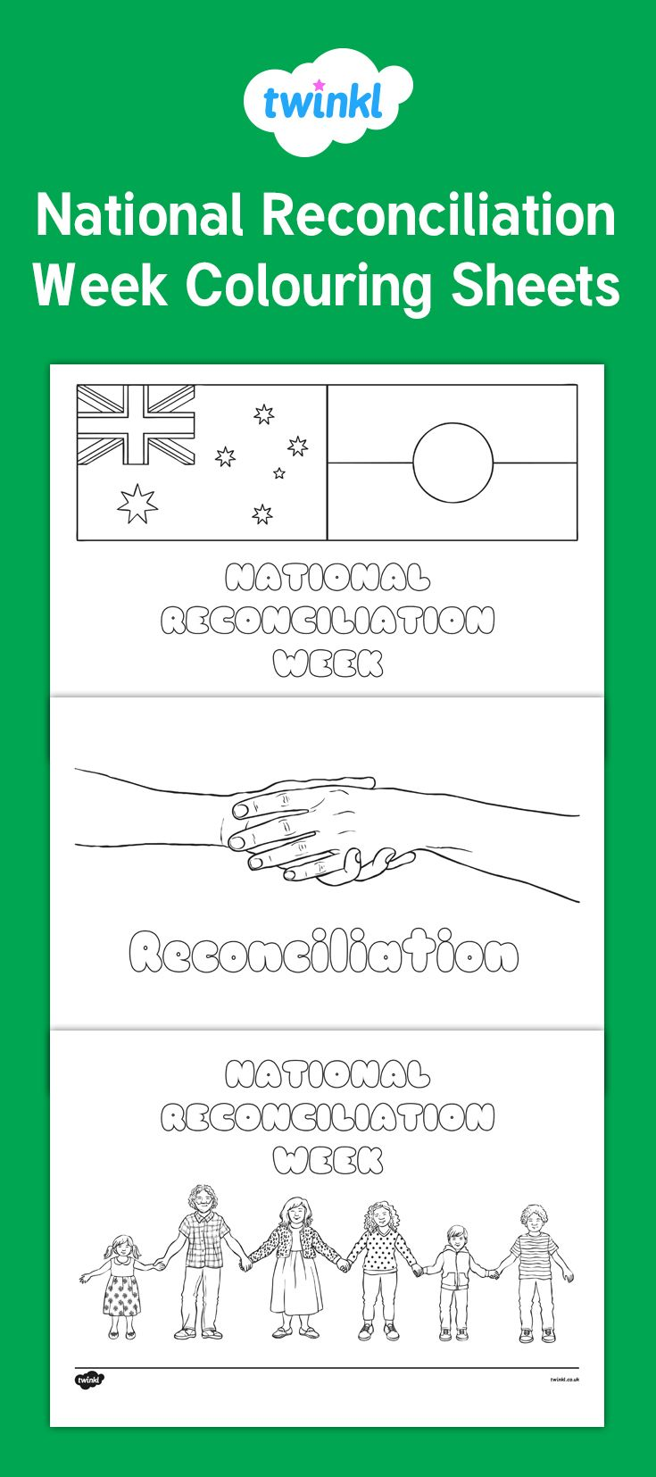 A selection of colouring sheets which features different images of the theme for National Reconciliation Week.
