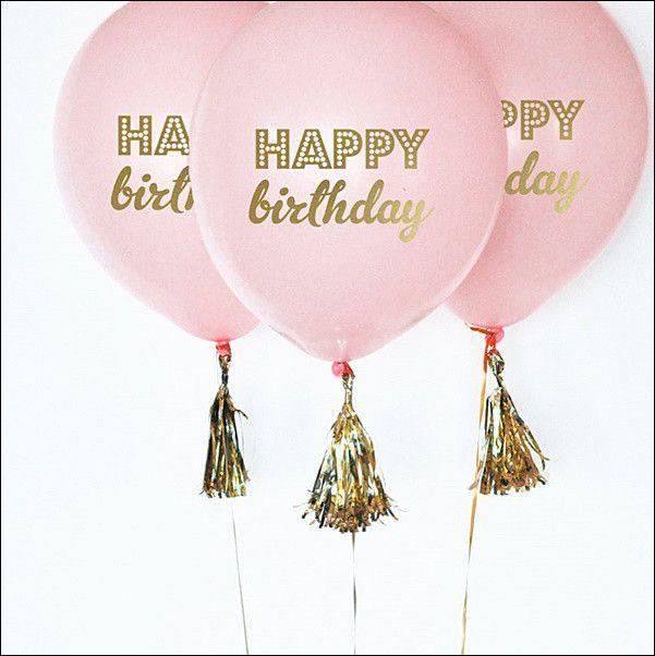 Pink & Gold Happy Birthday Balloons Set Of 6