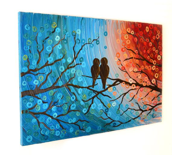 This listing is for a custom love birds in a tree painting to be painted to order in your preferred size. The painting will be very similar to the one pictured, and created to order meaning each tree is unique, and slightly different from the next. Once ordered, the painting will take approximately 3-4 weeks to complete. I will contact you with photographs of the finished piece, prior to varnishing and shipping, so that you know you will be happy with it when you receive it. If for any…