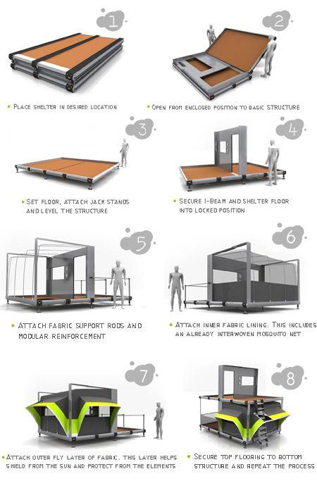 Eco albergues para refugiados. Un proyecto que mejorará la vida de los refugiados por medio de un diseño eficiente y una arquitectura coherente.