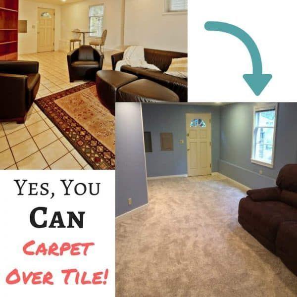 Yes You Can Carpet Over Tile Floor Flooring Tile Floor Basement Decor