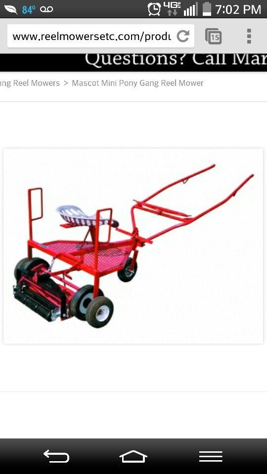 Mini horse-drawn reel lawn mower  http://www.reelmowersetc.com/product/gang-mowers/M821.html