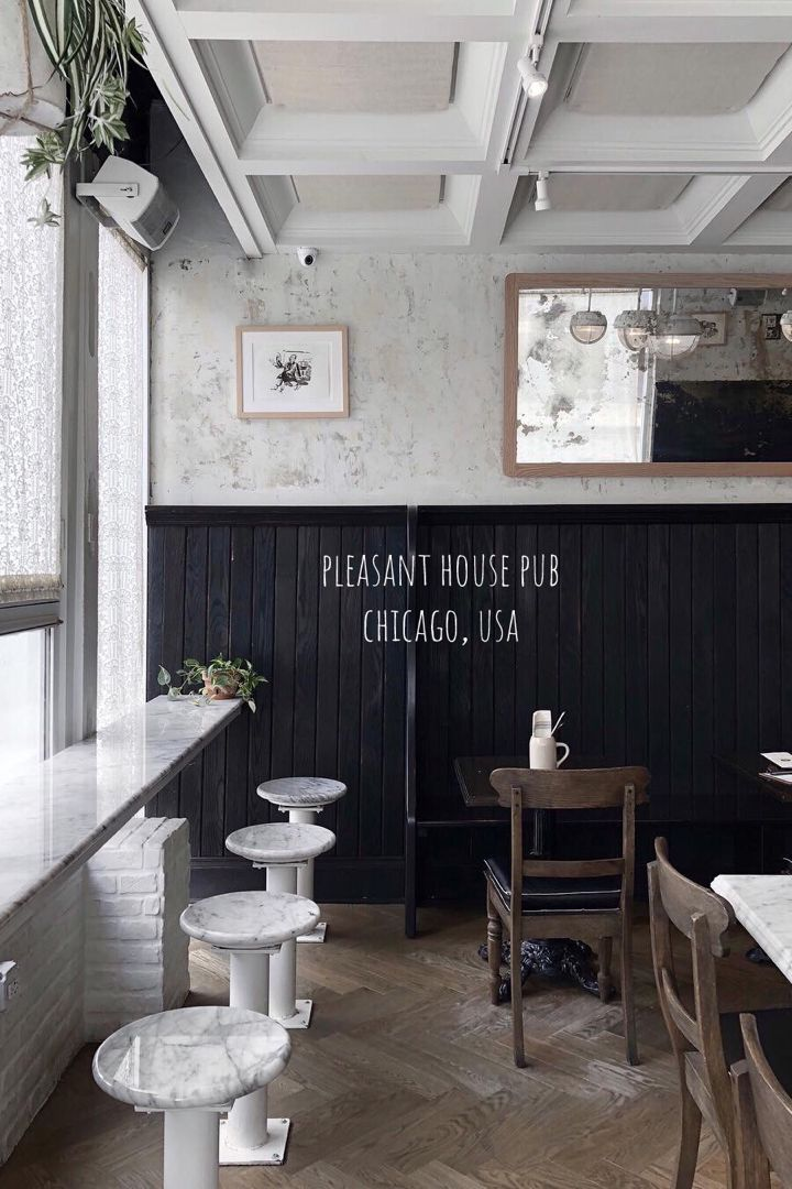 Pleasant House Pub In Chicago Usa Rustic Cafe With A Blackboard Menu Of Farm To Table Fare Baked Goods Brunch Sunday Rustic Cafe Coffee Images Restaurant