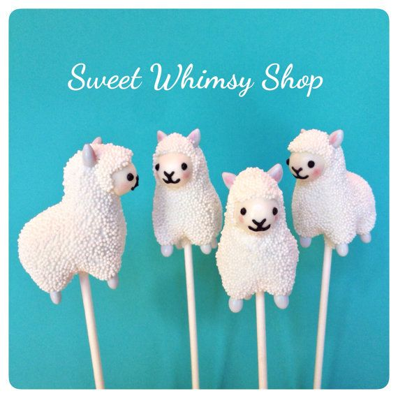 12 Cute Llama / Alpaca Cake Pops for zoo by SweetWhimsyShop