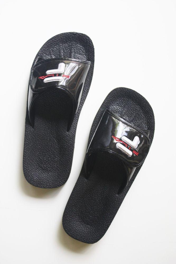 b9c8f4a47 FILA SLIDES Black Patent Unisex Shoes Mens 9 Womens 11 Slip On Sandals  Slippers  FILA  Slides