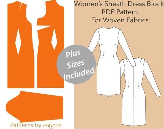 block sewing pdf,dress pdf pattern women dress pattern plus size pdf pattern Sheath Dress PDF pattern Women\u2019s XS-6X- women sewing pattern