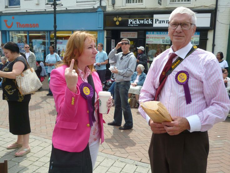 This is UKIP's MEP candidate for the South East. She described herself as Nigel's number 2. She told us to f**k off because we stood peacefully holding placards accusing UKIP of racist policies.  Picture from Maria Pizzey