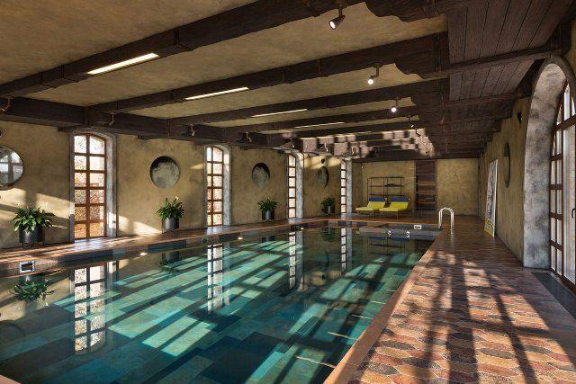 Residence BO, пригород Киева, в тосканском стиле, каменный фасад, элементы интерьера и декора, балки, потолки, бассейн, крытый бассейн