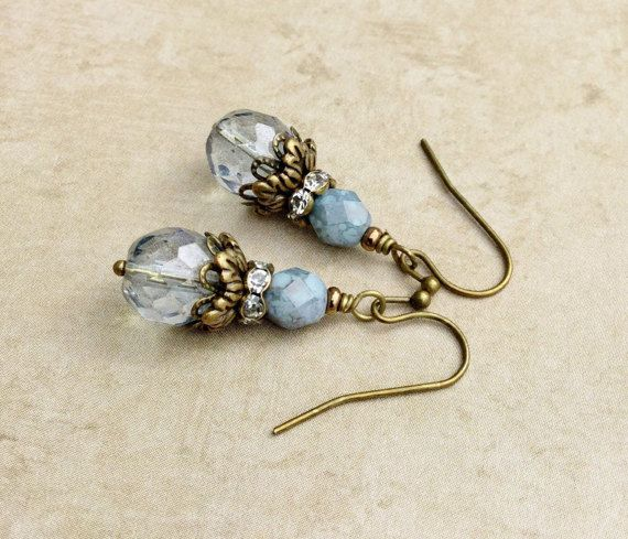 Blaue Ohrringe Türkis Ohrringe viktorianischen Ohrringe