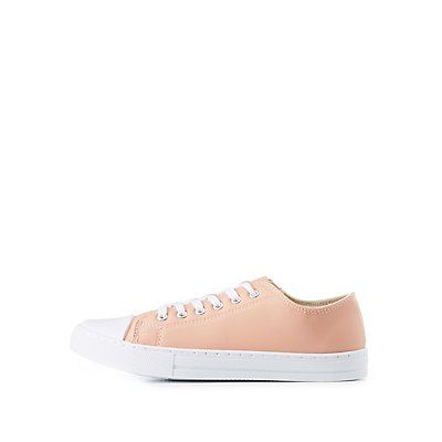 Pink Cap Toe Lace-Up Sneakers by Qupid - Size 6 .5