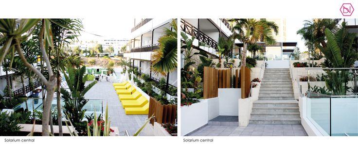 Reforma Hotel Vanilla Garden. Tenerife Refurbishment Hotel Vanilla Garden. Tenerife #Hotel #refurbishment #reforma #arquitectos #interiorismo #sunbeds #iluminacion #tropical #pool #design #interiordesign #yellow