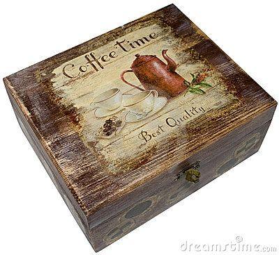 Caixa de Coffeattributes (jóia) decorada com decoupage