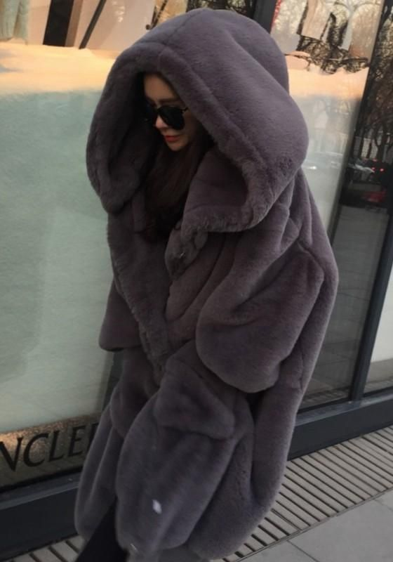 7b21d9d3b373 Dark Grey Draped Pockets Zipper Faux Fur Oversize Hooded Long Sleeve Thick  Coat | Style for a mile. | Rabbit fur jacket, Fur clothing, Coat