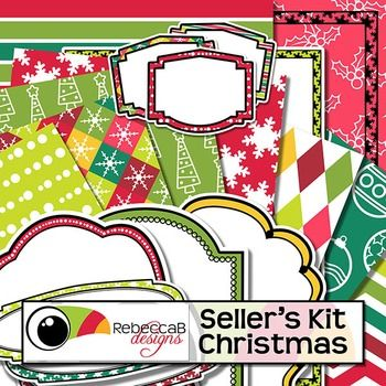 Seller's Kit Christmas has a traditional Christmas color theme and is loaded with plenty of coordinating elements for sellers to create eye catching product covers. Place a frame over a stunning patterned background and add a border, label or header. Seller's Kit Christmas by RebeccaB Designs.This product contains:- 47 U.S.