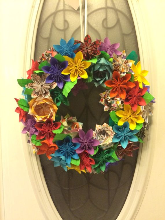 Very colorful, crayon color inspired wreath for a teachers classroom door. Approximately 17 inches in diameter. Colors of paper used are
