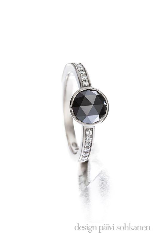 Black diamond ring, white gold and brilliant cut diamonds, made by Päivi Sohkanen, photo: Mikael Pettersson   www.paivisohkanen.fi