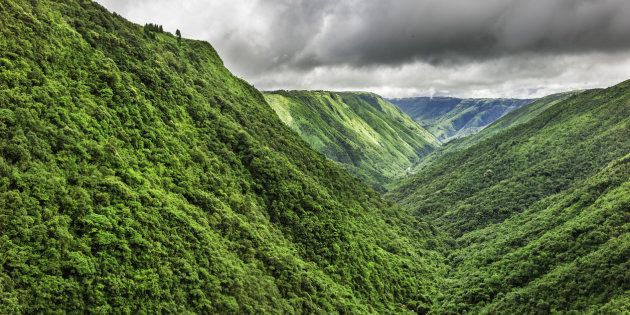 The Magical Beauty Of Northeast India: Storm clouds gather over the Khasi Hills with densely forested slopes and deep gorges near Cherrapunjee, the wettest place on earth. Cherrapunjee is in the state of Meghalaya, north east India.