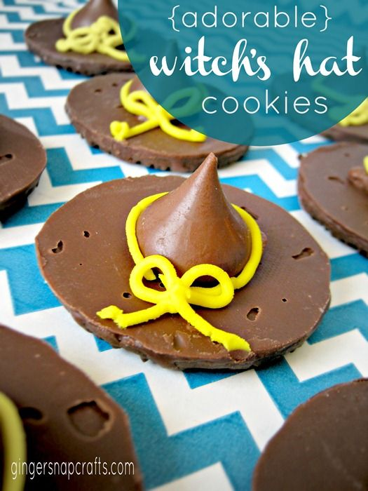 Halloween Witch's Hat Cookies.  Seems like a great way to use up those Girl Scout cookies sitting in my parents' basement.  (From March...)