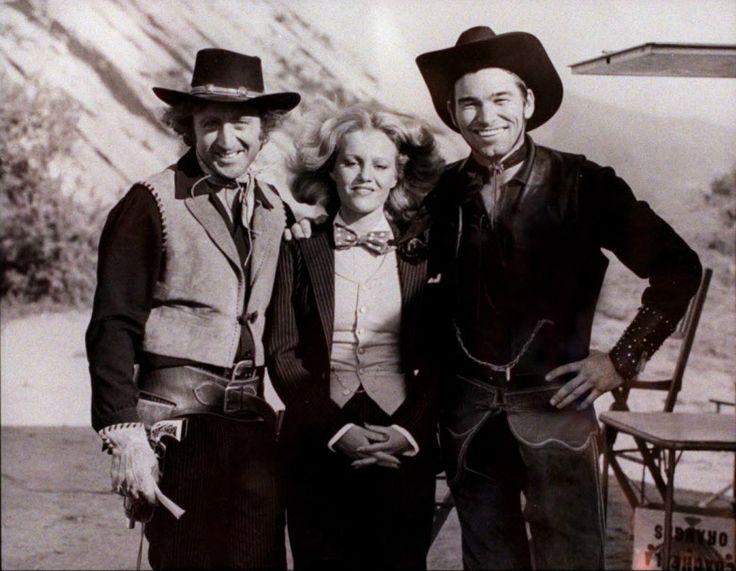 Gene Wilder, Madeline Kahn and Burton Gilliam on the set of Blazing Saddles
